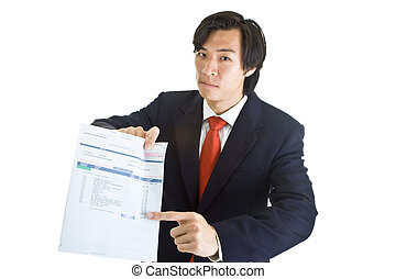 Asian businessman pointing at past due medical bill with...
