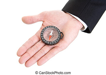 Mans Hand Holding Compass Isolated on White Background -...