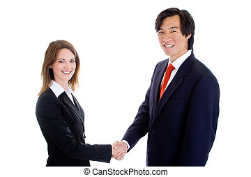 Male and female hands shaking.  Sleeves are business suits.  Isolated on white background.