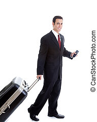Caucasian Man Traveling Pulling Suitcase and Passport Isolated