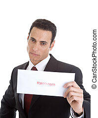 Serious Caucasian Man Holding a Foreclosure Notice, White