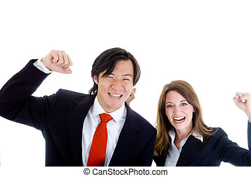 Asian Business Man and White Woman Pumping Fists in Air