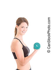 Slender Caucasian Woman Working Out Handweight Weight...