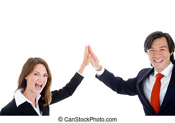 Happy Business Team, Asian Man Caucasian Woman High Five -...
