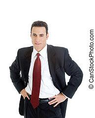 Confident Caucasian Businessman Hands on Hips, Suit,...