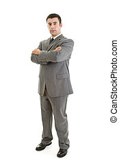 Confident Hispanic Man Standing with Arms Crossed Isolated