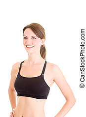 Smiling Caucasian Woman in Sports Bra White Background