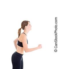 Slender Caucasian Woman Running on White Background