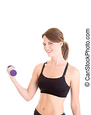 Caucasian Woman Lifting Hand Weight Working Out White Background