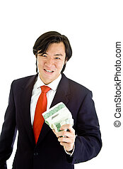 Asian Man Angry Over Market Crushing Stock Certificate White