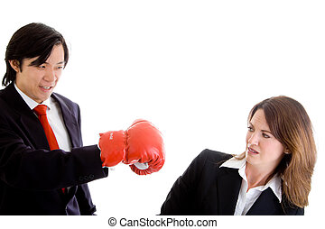 Asian Man Punching at Ducking White Woman Isolated Background