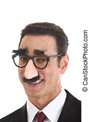 Smiling Businessman Wearing Groucho Glasses Isolated on White Background