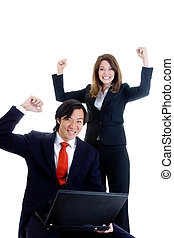 Happy Business Team, Asian Man Caucasian Woman Cheering at...