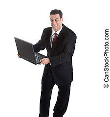 Angry Businessman Holding Laptop Isolated on White Background.  Looks like he is ready to throw or smash it