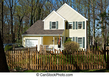 Single Family Home with Picket Fence in Suburban Maryland