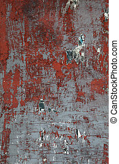 XXXL Grungy Wooden Wall with Peeling Paint and Paper Scraps