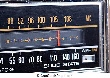 Tuning Display Part of Vintage AMFM Radio - Close up of the...