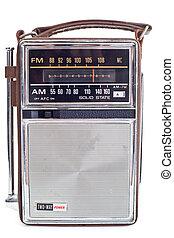 vendimia, portátil, transistor, radio, aislado,...