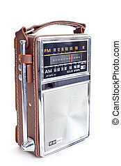 Vintage AM FM Radio on White Background - Old portable...