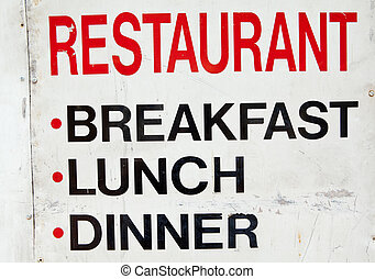 Old Grungy Dirty Metal Restaurant Sign, Breakfast, Lunch -...