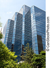 Modern Blue Glass Office Building, Rosslyn, Virginia -...