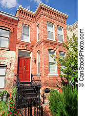 Red Brick Italianate Row House Home Washington DC - Tidy Red...