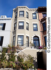 Italianate Row House Home Garden Washington DC - Front View...