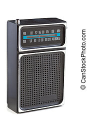 Vintage Black Plastic Radio Chrome Isolated White