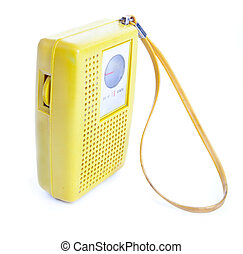 Vintage Yellow Plastic Transistor Radio Isolated on White -...