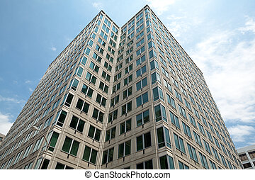 Modern Office Building Against Blue Sky Rosslyn, Virginia -...