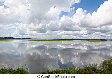 Dramatic puffy white clouds reflected in the May River,...