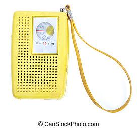 vendange, jaune, plastique, transistor, radio, isolé