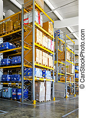 Chemical storehouse - Storehouse with chemical material in...