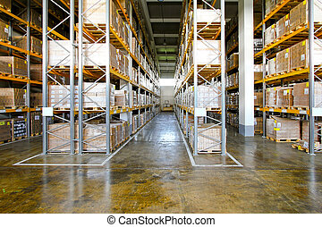 Warehouse - Boxes in modern logistic distribution warehouse...