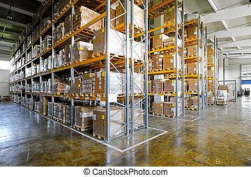 Warehouse shelves - Shelves and racks in distribution...