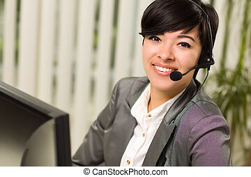 Attractive Young Woman Smiles Wearing Headset Near Her...