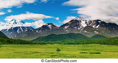 Mountain panorama - Mountain landscape, volcanoes of...