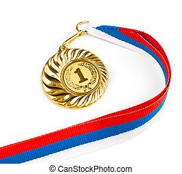Golden medal on white