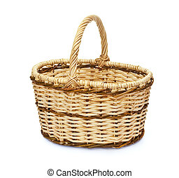 Isolated empty handmade basket for mushrooms