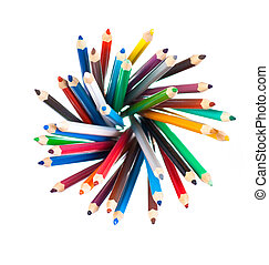 Top view of color pencils pile