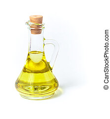 Olive or sunflower oil in glass bottle or container with...
