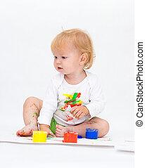 bebê, menina, desenho, quadro, tintas