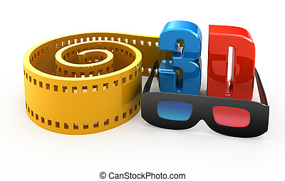 3d movie concept isolated on white