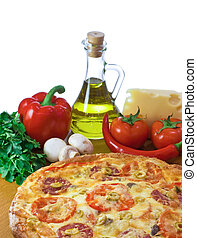 Pizza and ingredient isolated on white