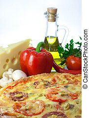 Homemade pizza and ingredients - Pizza and ingredients:...