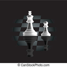 pawn and king - Vector pawn and a king, as the concept of...