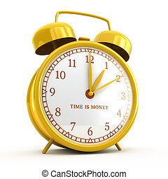 Golden alarm clock with time is money sign isolated on white
