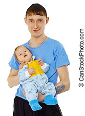 Young man is holding his son - infant