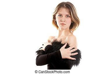 Pretty brunette woman - Pretty brunette woman in black dress...