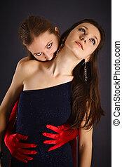 dos, joven, niñas, portrayed, vampiro, sacrificio